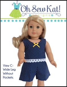 Oh Sew Kat Sandbox Shorts Doll Clothes Pattern 18 inch American Girl Dolls | Pixie Faire