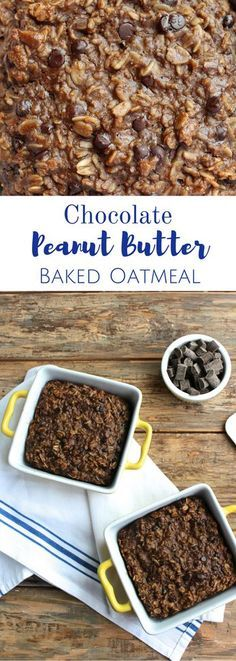 Chocolate Peanut Butter Baked Oatmeal = the best way to start off your day. This easy, healthy breakfast will keep you full throughout the day!