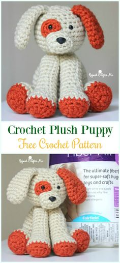 Crochet Plush Puppy Amigurumi Free Pattern - #Amigurumi Puppy #Dog Stuffed Toy Crochet Patterns