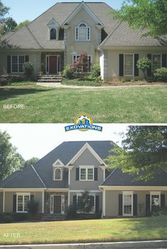 This home facelift included removing stucco and replacing with fiber cement siding, window replacement and a beautiful new color palette. What a great update for this home. | Atlanta Exterior Remodeling | EXOVATIONS