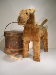"""Large Vintage Mohair Terrier Toy Vintage Stuffed Plush Dog Glass Eyes 18-1/2"""" T, 1930's-1940's, , Made in England, Excelsior.    Sold   Ebay    325.00."""
