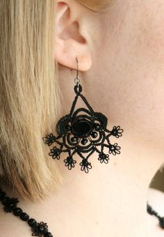 Black Beaded Tatted Lace Earrings ♥ by KnotTherapy on Etsy, $25.00