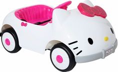 Hello Kitty 6V Adjustable Play Seat Belt Car Ride-On Rechargeable Outdoor Toys   #rechargeabletoys #carrideon #carkitty #sounds
