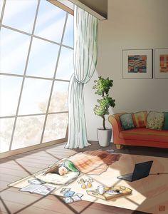 Wanna spend a lazy winter day alone? Japon Illustration, Cute Illustration, Aesthetic Art, Aesthetic Anime, Pretty Art, Cute Art, Anime Scenery Wallpaper, Anime Art Girl, Cartoon Art