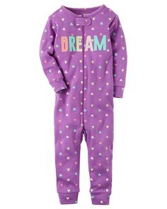Baby Girl 1-Piece Snug Fit Cotton Footless PJs Crafted in supersoft cotton, this 1-piece takes her from nap time to play time in no time! Zip-up design makes for quick changes and easy dressing. Carter's cotton PJs are not flame resistant. But don't worry! They're designed with a snug and stretchy fit for safety and comfort.