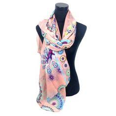 Leuke sjaal zalm met rondjes en bloemen print