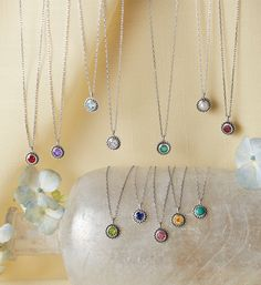 Lotus Birthstone Necklace - sterling silver lotus birthstone necklace.