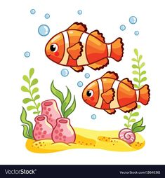 Colorful sea fish vector image on VectorStock Art Drawings For Kids, Fish Drawings, Art Drawings Sketches, Drawing For Kids, Painting For Kids, Cartoon Drawings, Art Lessons For Kids, Art For Kids, Drawing Scenery