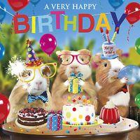 Funny Guinea Pig Birthday Card Birthday Fun Party Hats Birthday Bunting Balloons