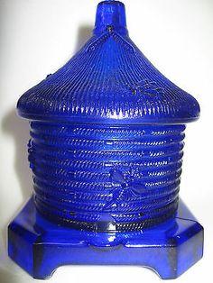 Cobalt Blue glass serving honey pot / bee hive pattern