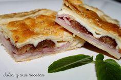 empanadas, empanada de hojaldre con jamón, empanada de hojaldre con dátiles, Julia y sus recetas,