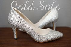 Kitten Heel Pumps  Crystal Short Wedding Shoes by goldsole on Etsy, $245.00