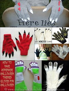 How to make Halloween Themed Gloves    @Lindsay Quam I thought these might be good for the flying monkeys!