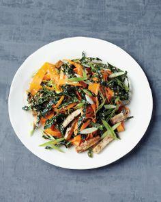 Shaved Carrot Salad with Baked Tofu | Whole Living: 2t rice vinegar, 1t toasted sesame oil, 1t honey, 1t toasted sesame seeds, 1 sliced scallion, 1 large carrot, 1C thinly sliced kale, 1/2C thinly sliced baked tofu (14oz pkg extra firm tofu, tamari sauce, 1-1/2T EVO)