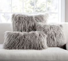 Mongolian Faux Fur Pillow Cover - Frost Gray