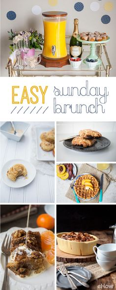 Hosting a brunch at home means no lines and unlimited mimosas! Easy brunch menu ideas and recipes that anyone can (and should!) make: http://www.ehow.com/info_8385875_ideas-easy-sunday-brunches.html?utm_source=pinterest.com&utm_medium=referral&utm_content=curated&utm_campaign=fanpage