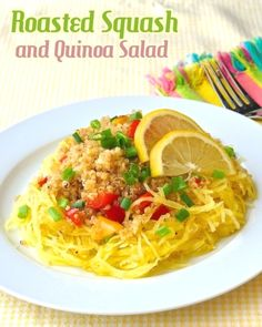 Warm Roasted Spaghetti Squash and Quinoa Salad - a tasty and super  nutritious side dish or a complete vegetarian lunch.