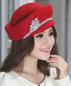 ca876083026 June s Young Wool Felt Hats for Women Winter Hat Small Brim Red     Learn  more by visiting the image link.