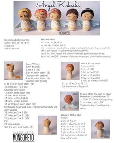 Angel amigurumi, free pattern ENGLISH by Mongoreto : Angel amigurumi, free pattern ENGLISH by Mongoreto Crochet Doll Pattern, Crochet Patterns Amigurumi, Angel Crochet Pattern Free, Knitted Dolls, Crochet Dolls, Magic Ring Crochet, Crochet Christmas Decorations, Crochet Angels, Single Crochet Stitch