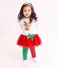 Loving this White Reindeer Tutu Dress & Leggings - Infant, Toddler & Girls on #zulily! #zulilyfinds