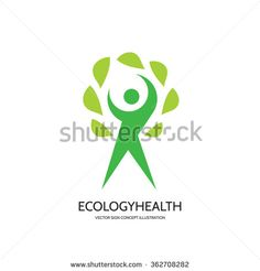 Ecology vector logo concept illustration. Health logo. Healthcare logo. Wellness logo sign. Nature logo. Human character with green leafs logo. Vector logo template. Design element.