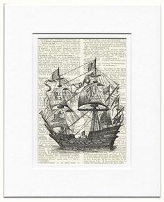 sail ship  16th century galleon ship printed on page by FauxKiss, $10.00