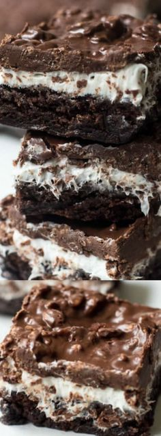 These Brownie Marshmallow Crunch Bars from Valerie's Kitchen are made up of layers of deliciousness! The chocolaty fudge brownie layer is covered with a fluffy marshmallow frosting and topped with crunchy bits of your favorite things — peanut butter and chocolate!