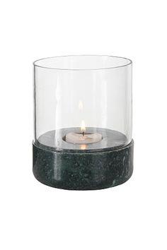 Kynttilälyhty marmoria ja lasia. Lämpökynttilälle. <br>ø 10 cm. Korkeus 13 cm.<br><br>Koska marmori on luonnonmateriaali, on normaalia, että tuotteiden koossa, värissä ja rakenteessa esiintyy eroavaisuuksia. <br><br>