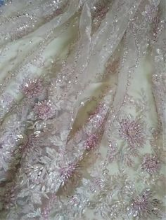 Pink Heavy 3D Beaded Lace Fabric, Super Delicate Embroidered Lace Fabric, Tulle Sequin Lace Fabric,