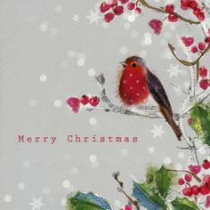 PACK OF 6 CHARITY CHRISTMAS CARDS illustrated with a robin amongst holly berries. A donation from the sale of each pack helps Redwings Horse Sanctuary and National Animal Welfare Trust. £3.49 per pack