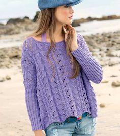 Сиреневый пуловер - схема вязания спицами. Вяжем Пуловеры на Verena.ru