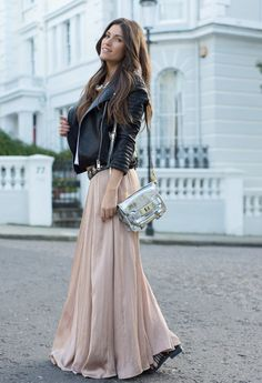 leather jacket matches perfectly with maxi skirt