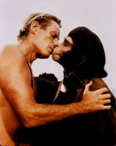 At the time, this was one of the most controversial kisses in cinematic history.  George (played by #CharltonHeston) and Zira (played by #KimHunter) in  #PlanetoftheApes.