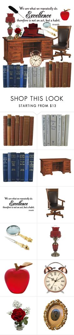 """Knowledge...Old School"" by queenmarleen ❤ liked on Polyvore featuring interior, interiors, interior design, home, home decor, interior decorating, DutchCrafters, Michael Aram, Daum and Nearly Natural"