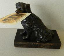 Antique Mechanical Dog Card Holder