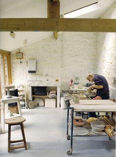 Walter Keeler in his studio | Penallt, Wales | Image taken fromModern British Potters & Their Studios