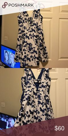 White and blue floral Betsey Johnson Dress Never worn Betsey Johnson dress, perfect for summer events! Betsey Johnson Dresses Mini