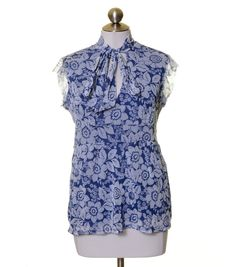 New York & Company Blue White Floral Mesh Lined Tie Neck Blouse Size L #NewYorkCompany #Blouse #Casual
