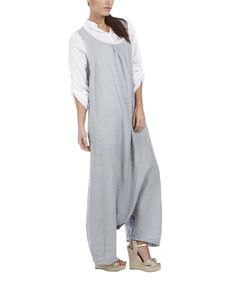 Look what I found on #zulily! 100% LIN BLANC Gray Rolled Hem Linen Scoop Neck Jumpsuit - Plus Too by 100% LIN BLANC #zulilyfinds