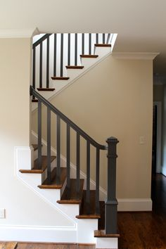 Stair, : Artistic Picture Of Home Interior Decoration Design Ideas Using Light Grey Wood Staircase Banister Including Wooden Half Turn Staircase And Grey Wood Staircase Spindles Black Painted Stairs, Painted Stair Railings, Black Stair Railing, Staircase Spindles, Black Stairs, Painted Staircases, Wood Railing, Railing Design, Banisters