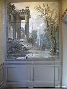 Wall Mural with Jib Doors, Pascal Amblard- MJP Studios Mural Painting, Mural Art, Wall Murals, Scenic Wallpaper, Zuber Wallpaper, Invisible Doors, Arte Judaica, Grisaille, Wall Treatments
