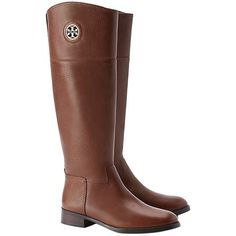 Pre-owned Tory Burch Almond Tumbled Leather Junction Tall Riding Sz 9... (5,920 MXN) ❤ liked on Polyvore featuring shoes, boots, brown, leather boots, genuine leather riding boots, brown boots, leather riding boots and knee high leather boots