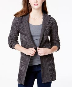 Love this color & style: Roxy Juniors' 'Holloway' Hooded Pointelle-Knit Cardigan.