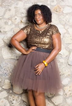 Fashion and Beauty with Chalana Bashment: Plus Size Tulle Skirt and Worthington JCPenny Sequin Top