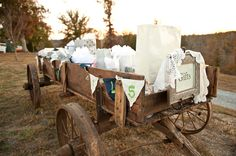 gift wagon instead of gift table at rustic outdoor wedding