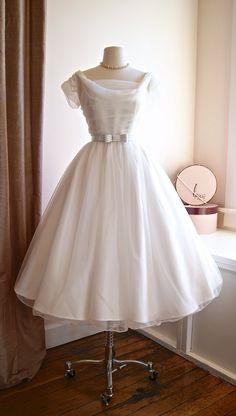 1950s Style Wedding Dress ~ Xtabay Exclusive 50s Wedding Dress ~ 1950s Reproduction Bridal Dress Darling 1950s style tea-length wedding dress