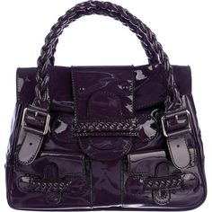 Pre-owned Valentino Histoire Bag ($445) ❤ liked on Polyvore featuring bags, handbags, purple, woven purses, top handle purse, purple patent leather handbag, top handle handbags and woven handbags