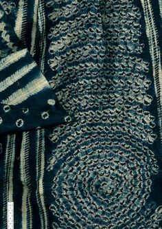 Africa | Stitch resist indigo dyed textile | 2nd half of the 20th century | Cotton
