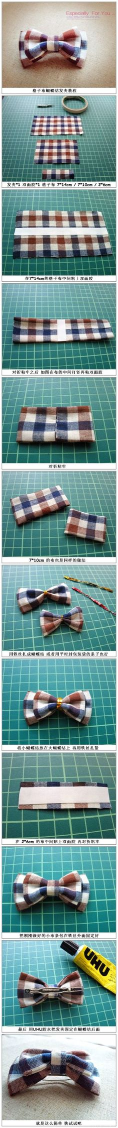 Petite barrette avec un noeud en tissu tartan / Tartan bow hair-clip Sewing Hacks, Sewing Tutorials, Sewing Crafts, Sewing Projects, Diy Crafts, Handmade Crafts, Fabric Crafts, Sewing For Kids, Baby Sewing