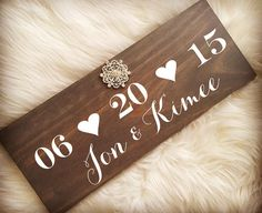 Rustic Wedding Wood Sign with Rhinestone Brooch. by KimeeKouture